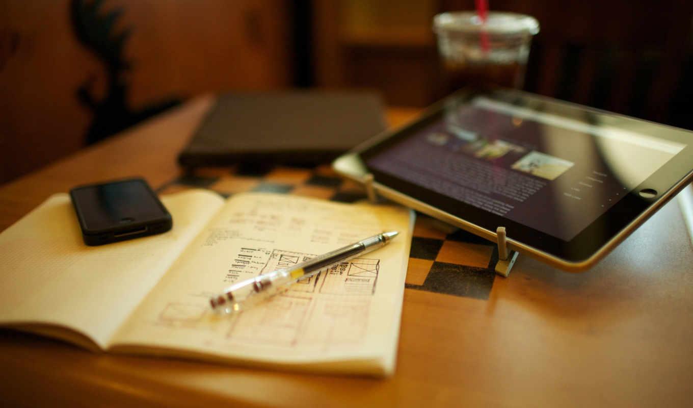 iphone, ручка, ipad, тетрадь, макро