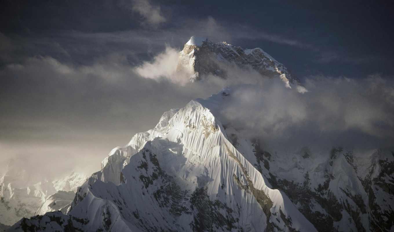 горы, everest, туман, гора,