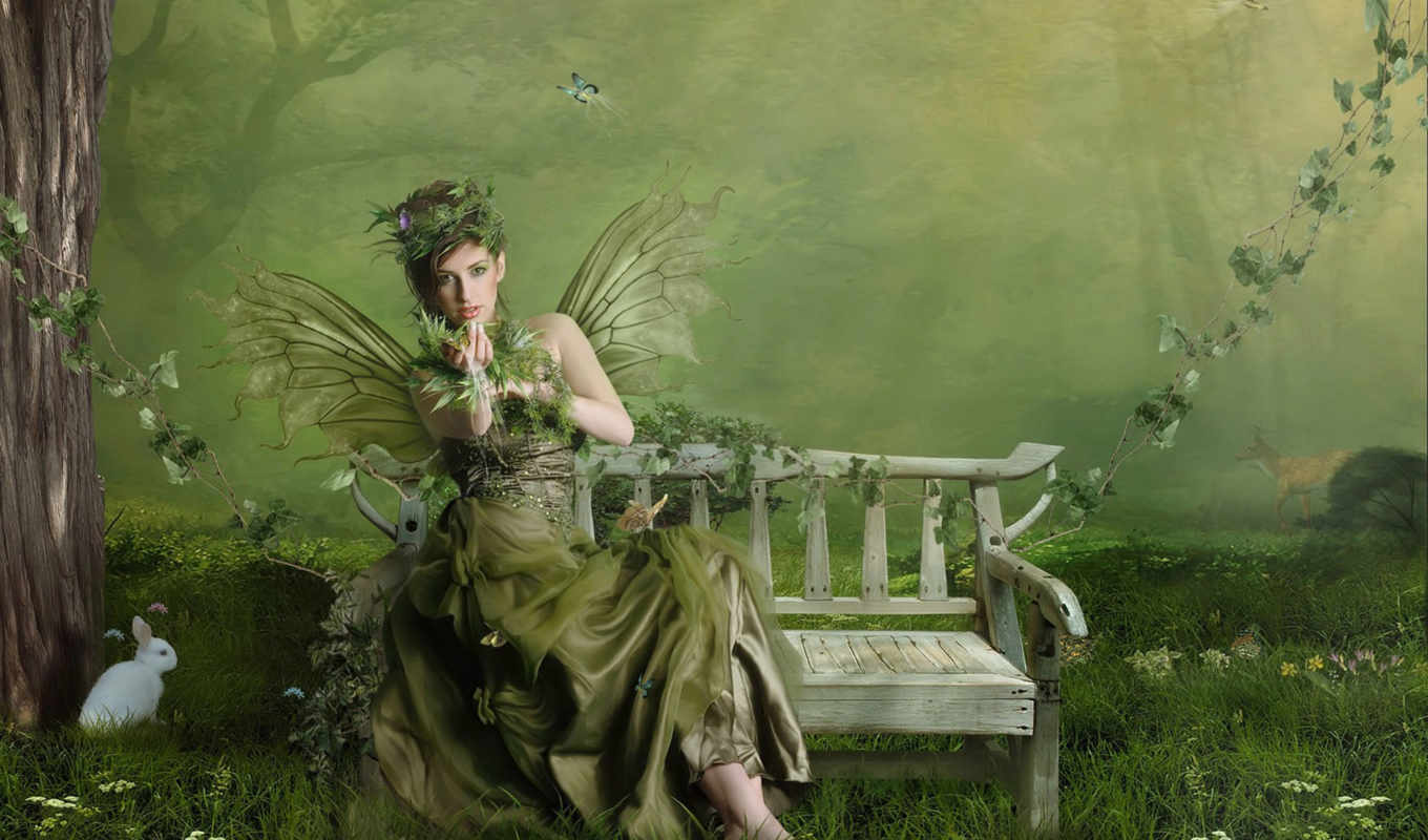fantasy, fairy, girls, spring, graphics, desktop, green, free, download, faire, girl, normal,