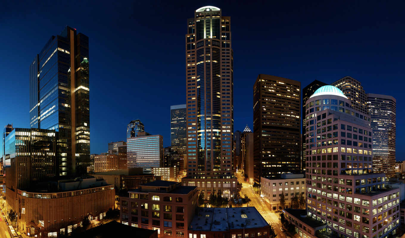 seattle, ночь, city, небоскребы, downtown, architecture,