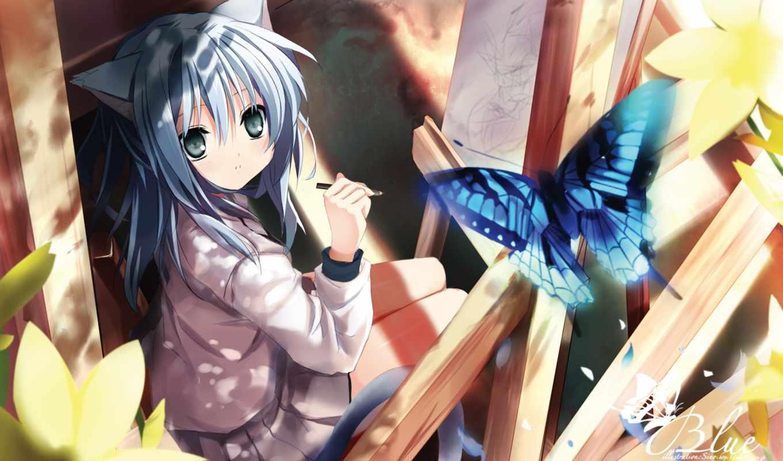 anime, nekomimi, ears, animal, butterfly, shino, eefy, catgirl, hair, tags, catwoman, нравится, iphone, similar,