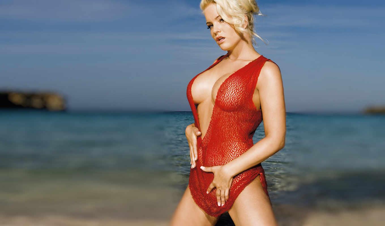 блондинка, море,грудь,красный,сексуальная,