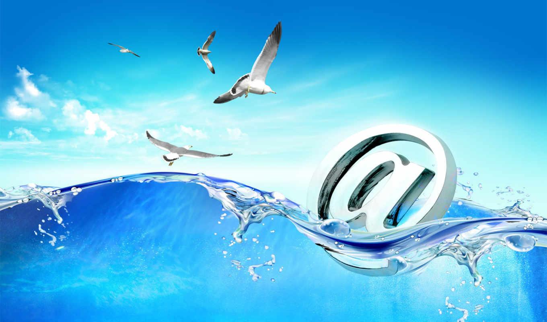 море, чайки, mail, anime,