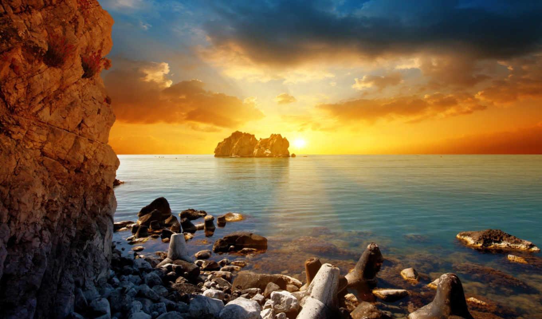 закат, море, sun, тучи, вечер,