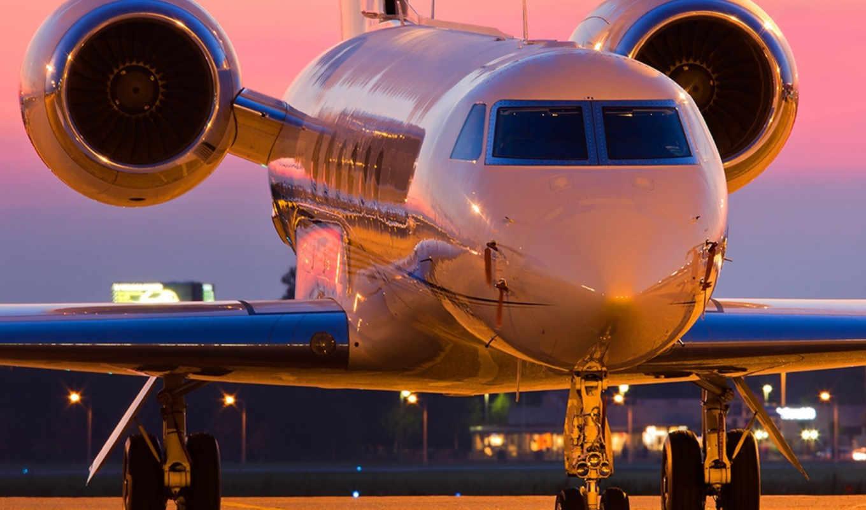 реактивный, аэродром, крылья, самолёт,, двигатели,