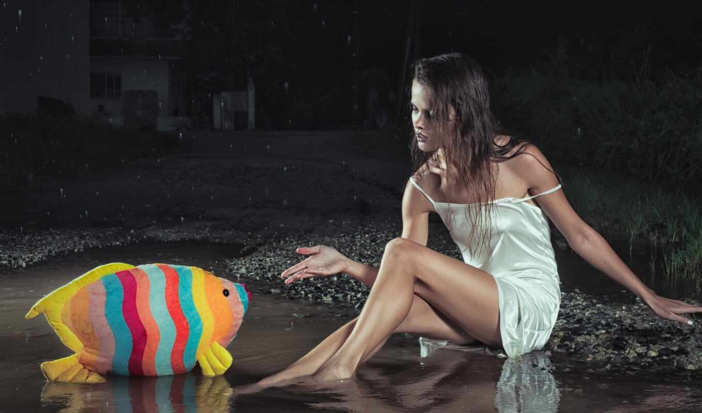 девушка, fish, лужа, toy, blue, кость, фото, зелёный
