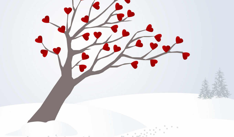,дерево, сердца,зима,рисунок,