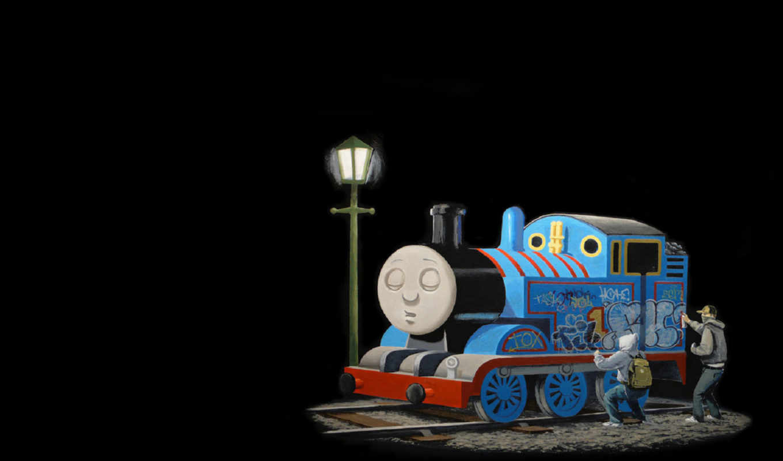 banksy, паровозик, бэнкси, томас, поезд, граффити,