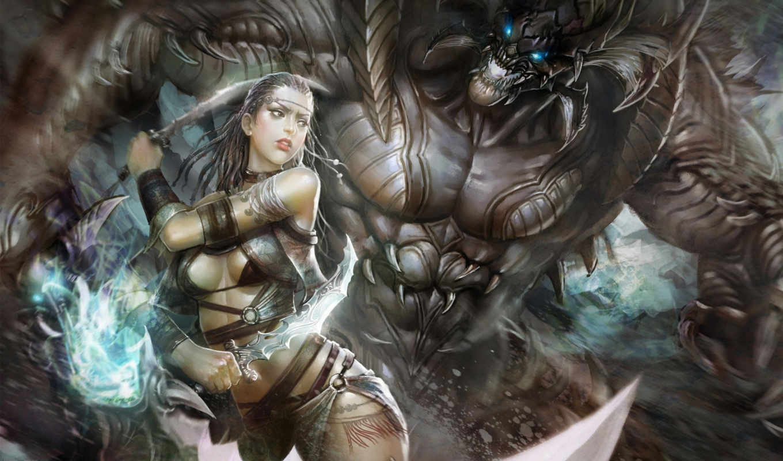 арт, девушка, магия, мечи, huang, dahong, чудовище, картинка,