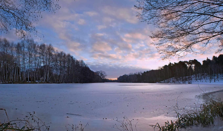 зима, деревья, снег, наледь, небо, природа, река, озеро, замерзлое, холод,