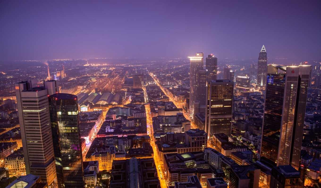 frankfurt, germany, aerial, lights, night, play, view, free, maintower, cityscapes, city, skyline,