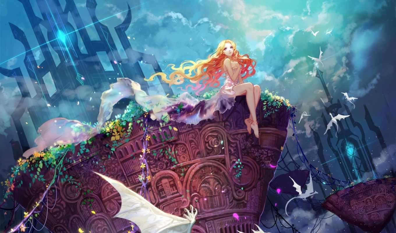 devushki, anime, devushka, магия, широкоформатные, kartinka, vesna, небо, asuka, oblaka, драконы,