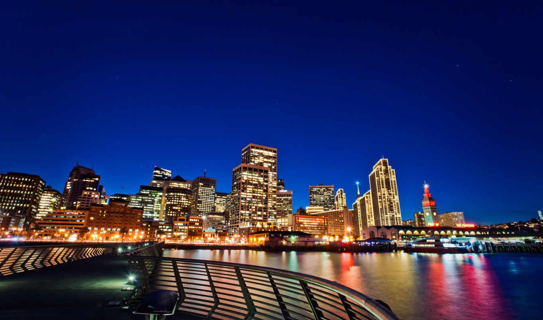 san, francisco, город, ночь, мост, огни,