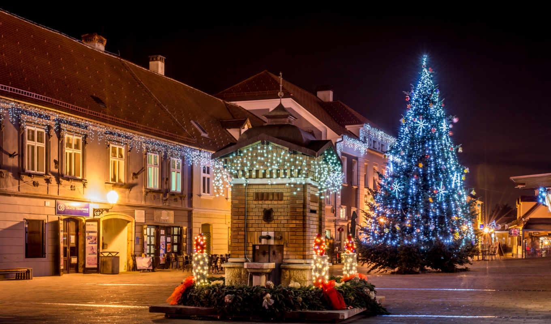 год, new, ночь, дома, christmas, картинка, фонари,