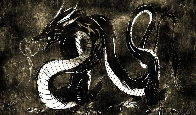 дракон, фон, китаянка