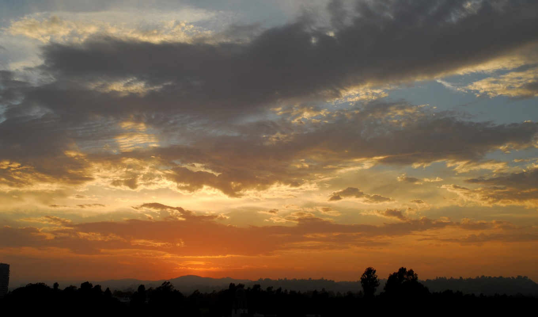 sky, over, forest, sunset, природа, солнце, изображение, desktop, clouds,