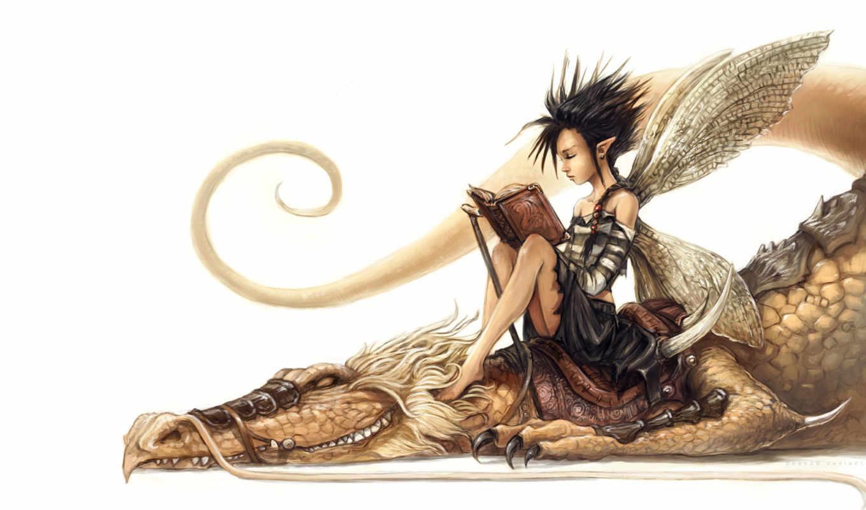 дракон, эльф, art, эльфы, print, лес, white, fairy,