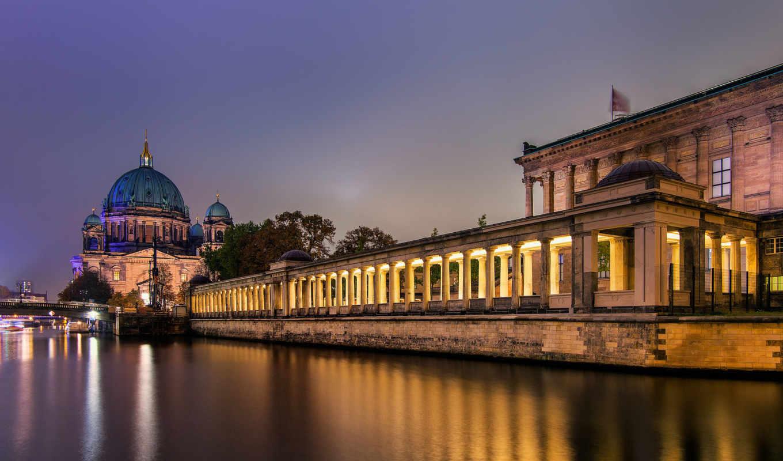 остров, museum, berlin, острова, ночь, шпрее, германия, город, cathedral, свет, река, берлине,