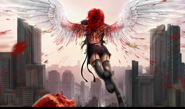 ангел, сердце, крылья, девушка, кровь, арт, город, брызги, рыжая, чулки, darianaloki, картинку, картинка, кнопкой, мыши, выберите, правой,