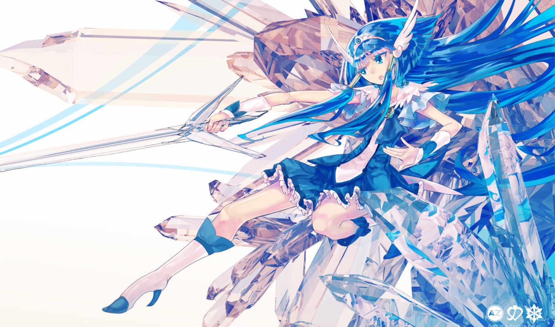 precure, blue, smile, aoki, reika, hair, shinya, ochakai, cure, sword, beauty,