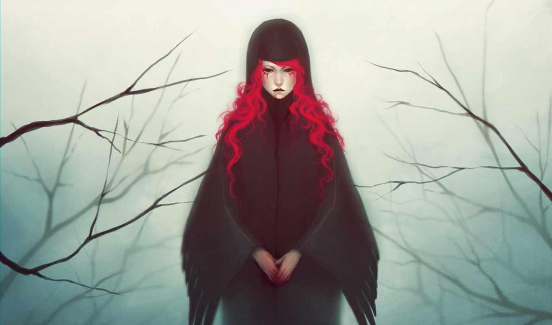 волосы, красные, девушка, кровь, ветки, крылья, арт, mezamero, волос,