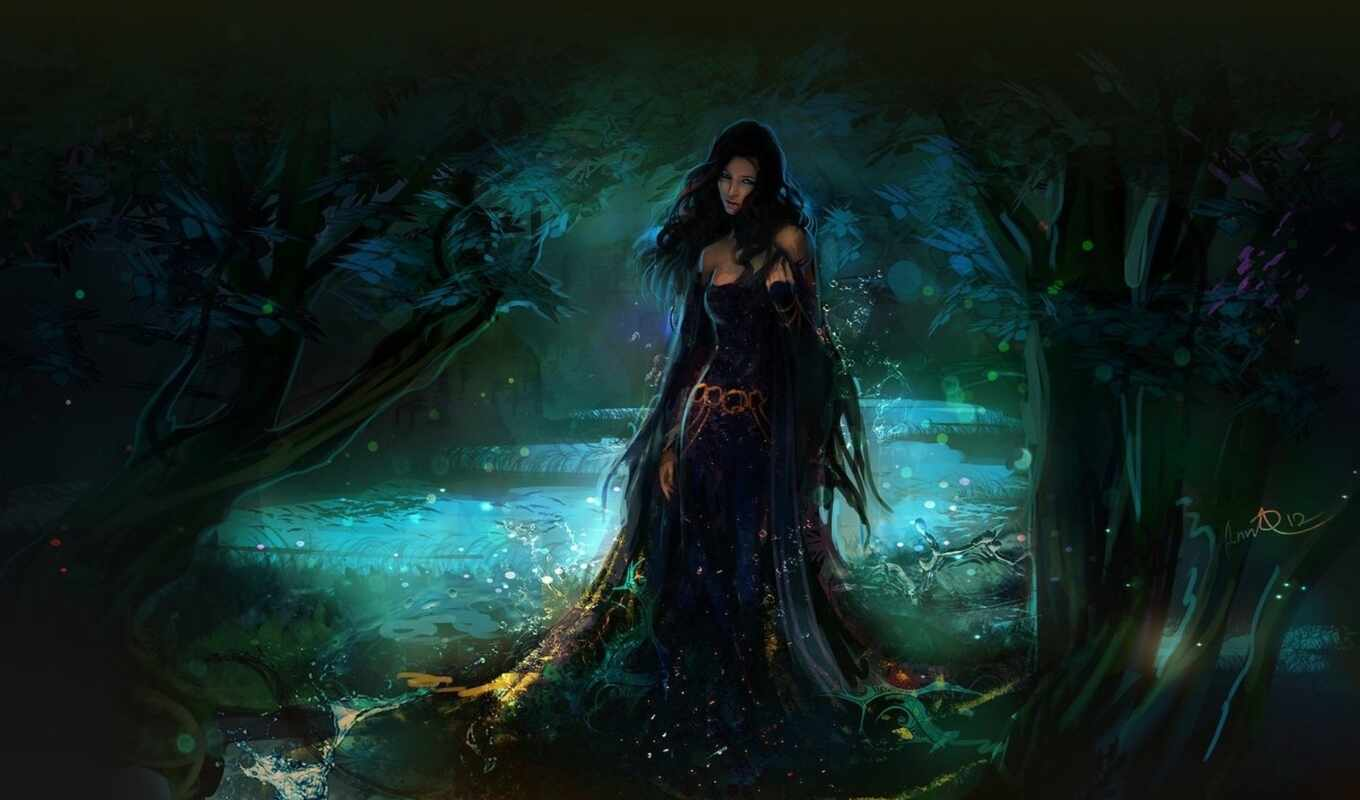 fantasy, women, artwork, forest, pictures, art, фэнтези, more, related, wolves,