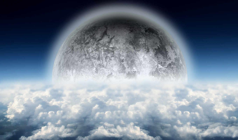 со, облаками, небо, разрешениях, разных,