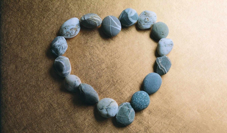 сердце, камни, галька