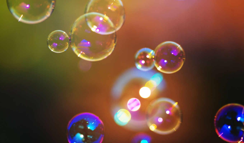 мыльные пузыри, макро, разноцветный