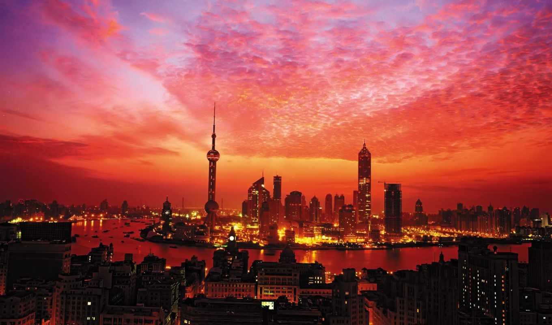 огни, шанхай, небоскребы, башня, закат, china,
