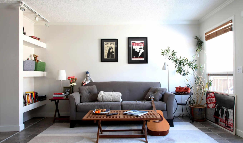 диван, дизайн, комната, интерьер, стиль, мебель, гитара,