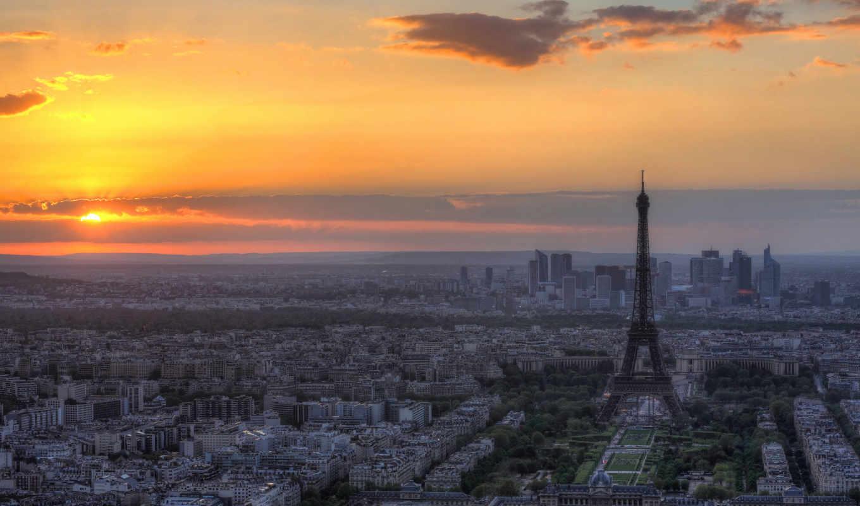 париж, эйфелева, башня, франция, город, eiffel, панорама, города, закат,