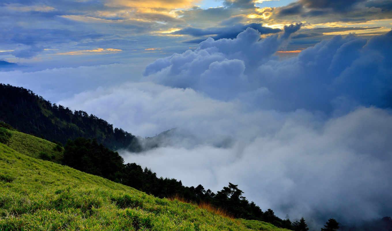облака, холмы, трава, зелень, природа, туман, картинка, ъцѕ, фваъ,