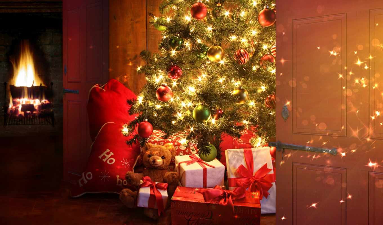 new, год, christmas, камин, сувениры, дерево, обстановка, праздник,