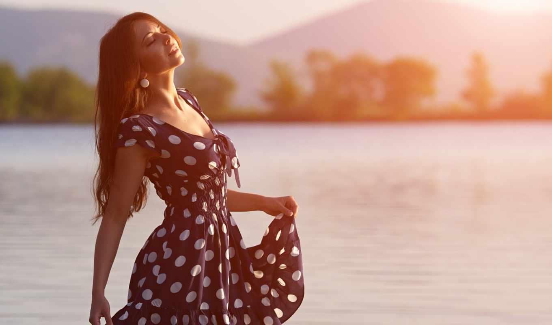 девушка, реки, солнца, восходе, клипарт, поток, берегу,