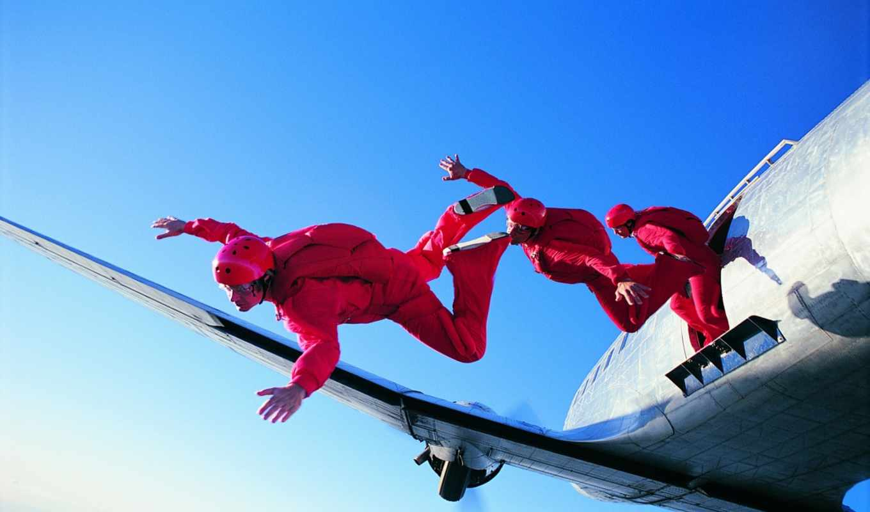 парашютом, прыжок, вольтижировка,