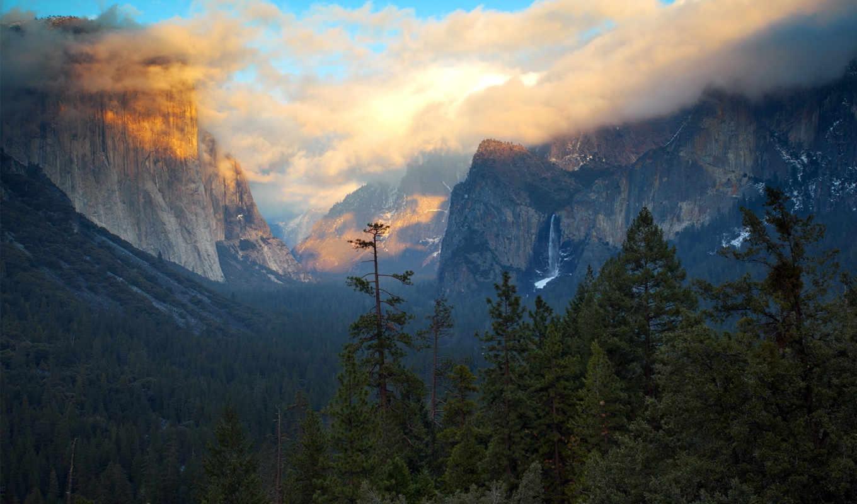 las, słońca, góry, aero, zachód, кб, usa, am, san, californie,