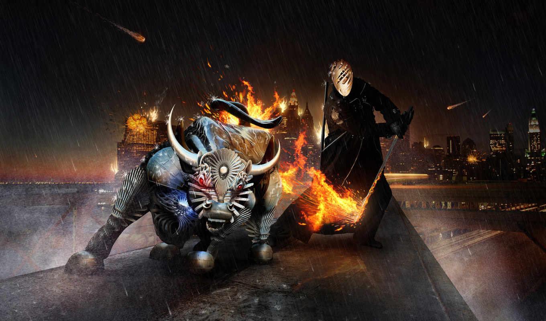 bull, воин, злой,
