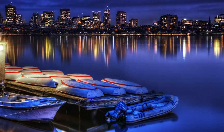 бостон, город, ночь, бостона, сша, панорама, минимализм,