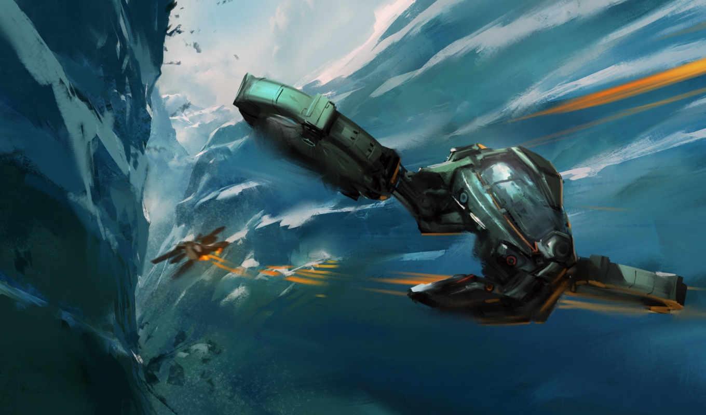 корабли, космические, станции, фантастика, звездолеты, воздушный, бой, ущелье,
