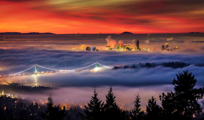 канада, дома, утро, зима, vancouver, колумбия, мост, британская, alexis, west, birkill, city, огни, туман, şehir, british, manzarası, bulutlar, columbia,