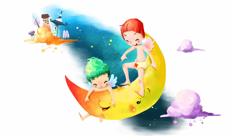 нарисованные, дети, ангелы, луна, тучи, небо, дома, ночь