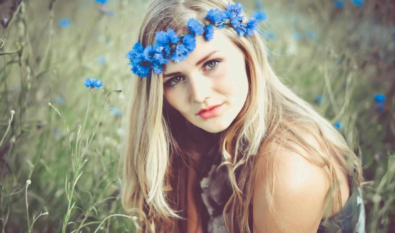 девушка, венком, девушки, девушек, красивых, коллекция, летом, цветы,