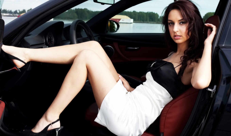 devushki, рулём, девушек, модель, bmw,