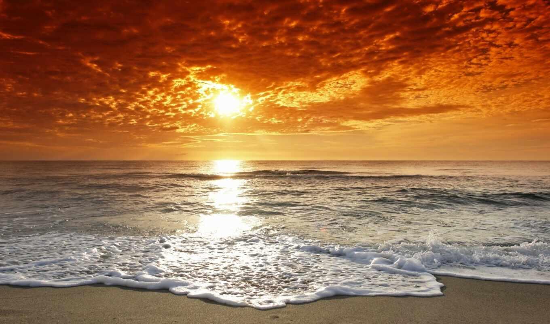 закат, природа, summer, море, заката, картины, пляж,