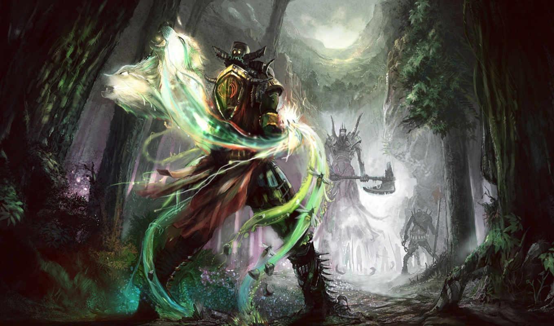 fantasy, art, лес, фантастика, дуэль, воин,