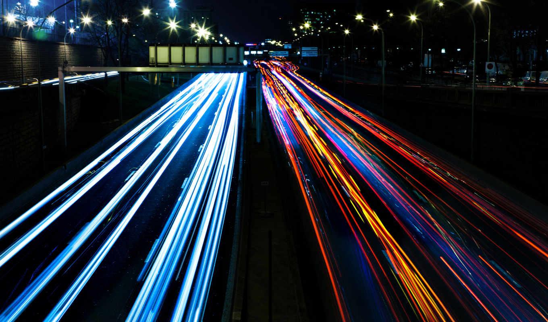 дорога, улица, ночь, машины, свет, огни, фонари, город, движение,