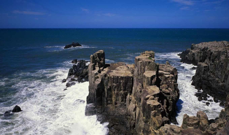 скалы, море, waves, пенка, бьющиеся, камни,
