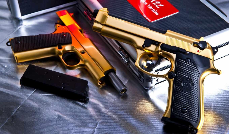 guns, wallpaper, pistols, weapons, beretta, golden
