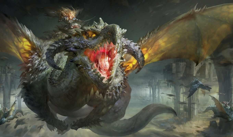 дракон, пасть, воительница, полет, рык, скалы, картинка, всадник, картинку, jia, ruan, мыши, кнопкой,